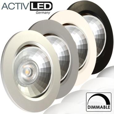 1x LED Deckeneinbauleuchte dimmbar und schwenkbar 230V 3000K ersetzt 50W