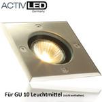 Bodeneinbauleuchte für Außenbereich 110x110mm GU10 230V Edelstahl / Aluminium IP65