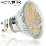 1x LED SMD 3528 Lampes GU10 300lm 230V  blanc chaud avec verre de protection