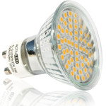 1x LED SMD 3528 lights GU10 300lm 230V warm white with protective glass