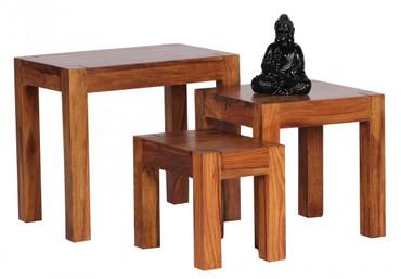 3er Set Satztisch MUMBAI Massiv-Holz Sheesham Wohnzimmer-Tisch Landhaus-Stil Beistelltisch dunkel-braun Naturholz