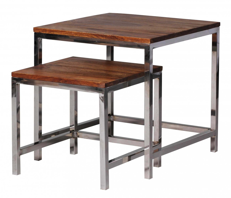 2er Set Satztisch Guna Massiv Holz Sheesham Wohnzimmer Tisch