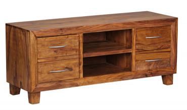 Lowboard MUMBAI Massivholz Sheesham Kommode 135 cm TV-Board Ablage-Fach Landhaus-Stil 4 Schubladen 2 Fächer Unikat