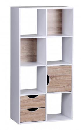 Bücherregal 60 x 120 x 29 cm Weiß Sonoma Eiche mit Schubladen und Tür