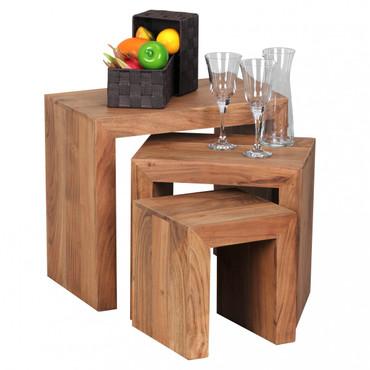 3er Set Satztisch MUMBAI Massiv-Holz Akazie Wohnzimmer-Tisch Landhaus-Stil Beistelltisch dunkel-braun Naturholz