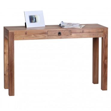 Konsolentisch MUMBAI Massivholz Akazie Konsole mit 1 Schublade Schreibtisch 120 x 40 cm Landhaus-Stil Sideboard