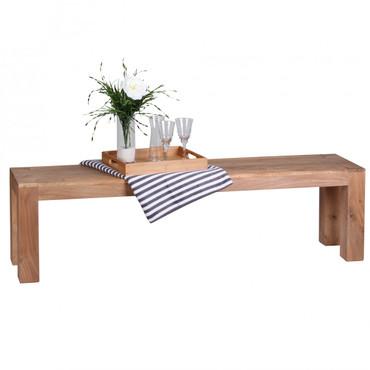 Esszimmer Sitzbank MUMBAI Massiv-Holz Akazie 160 x 45 x 35 cm Holz-Bank Natur-Produkt Küchenbank im Landhaus-Stil