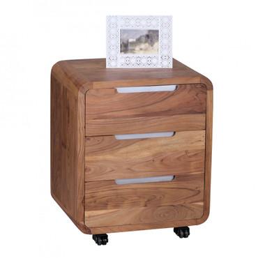 Rollcontainer BOHA Akazie Massivholz Design Schubladenschrank für Schreibtisch Natur-Holz 3 Schubladen Landhaus