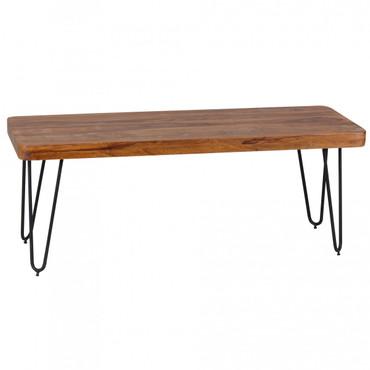 Esszimmer Sitzbank BAGLI Massiv-Holz Sheesham 120 x 45 x 40 cm Holz-Bank Natur-Produkt Küchenbank im Landhaus-Stil