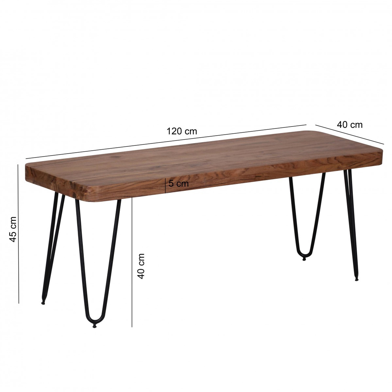 Esszimmer Sitzbank Bagli Massiv Holz Akazie 120 X 45 X 40 Cm Holz