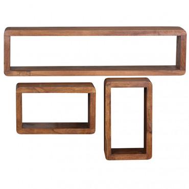 3er Set Wandregale BOHA Massivholz Sheesham Holzregal Landhaus-Stil Hängeregal Echt-Holz Wandboard Natur-Produkt
