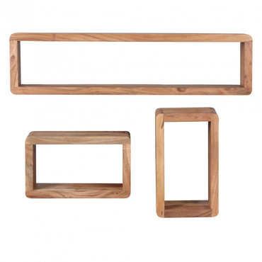 3er Set Wandregale BOHA Massivholz Akazie Holzregal Landhaus-Stil Hängeregal Echt-Holz Wanbboard Natur-Produkt