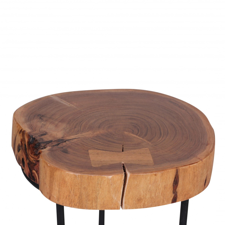 Beistelltisch Akola Massiv Holz Akazie Wohnzimmer Tisch Metallbeine