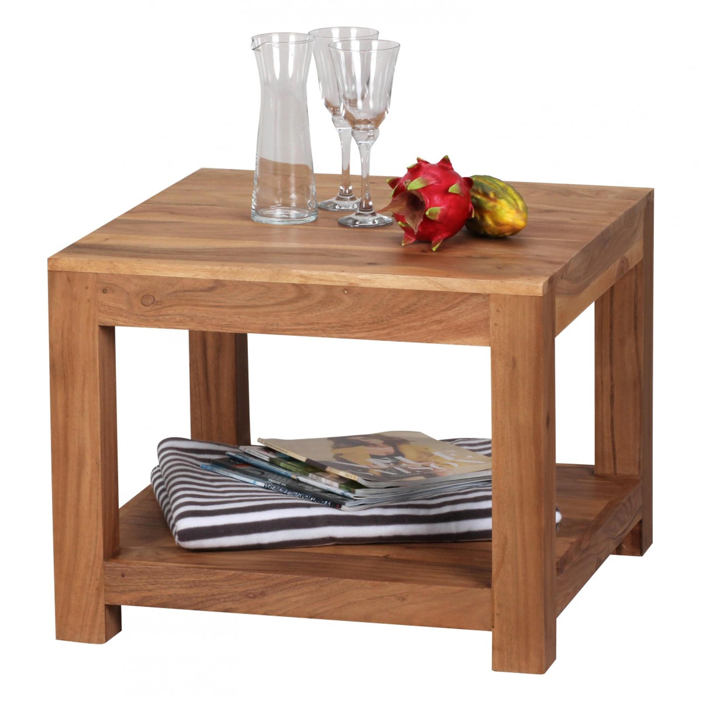 Couchtisch MUMBAI Massiv-Holz Akazie 60 x 60 cm Wohnzimmer-Tisch ...