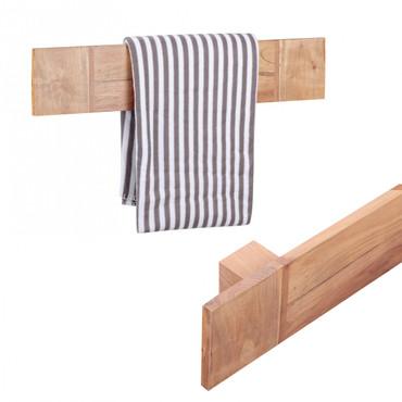Handtuchhalter MUMBAI Massivholz Akazie 80 cm Wandregal Landhaus-Stil Bad-Zubehör Badezimmer-Möbel Natur-Produkt
