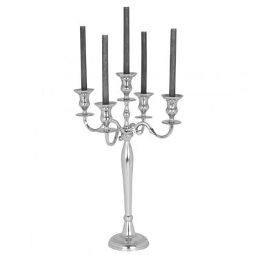 5 armiger Kerzenständer 60 cm aus Aluminium Farbe silber