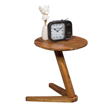 Beistelltisch BOHA Massivholz Sheesham Design Wohnzimmer-Tisch 45 x 45cm rund Nachttisch Natur-Holz Landhaus-Stil