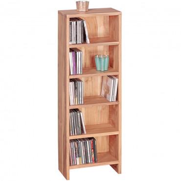 CD Regal MUMBAI Massivholz Akazie Standregal 90 cm hoch CD-Aufbewahrung 5 Fächer Bücherregal natur Landhaus-Stil
