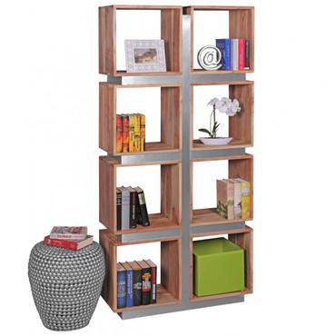 Bücherregal GUNA Massivholz Akazie 180 x 85 x 30 cm Design Raumteiler hohes Regal Holz Landhaus-Stil Regalsystem