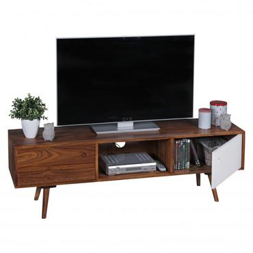TV Lowboard REPA 140 cm Massiv-Holz Sheesham Landhaus 2 Türen & Fach   HiFi Regal braun / weiß 4 Füße   Fernseher Kommode Vintage