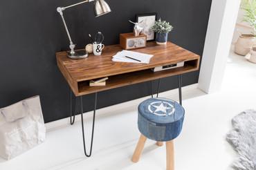 Schreibtisch BAGLI braun 110 x 60 x 76 cm Massiv Holz Laptoptisch Sheesham Natur | Landhaus-Stil Arbeitstisch mit 1 Ablage-fach | Bürotisch PC-Tisch
