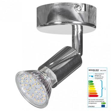1-flammiger LED-Spot Drehbar Warmweiß EEK A+ inkl. 3 Watt Leuchtmittel | Wand-Lampe Diele Flur GU10 Fassung | Decken-Leuchte Wohnzimmer Schlafzimmer Kinderzimmer