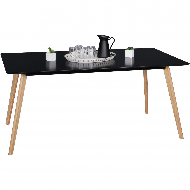 Aura Schwarz Esstisch Retro-Design da DS Schwarz Holz Beine Büro Lounge Zimmer