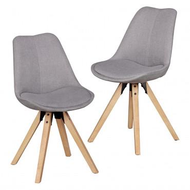 2er Set Retro Esszimmerstuhl LIMA Hellgrau Polsterstuhl Stoff-Bezug Rückenlehne Design Küchen-Stuhl gepolstert