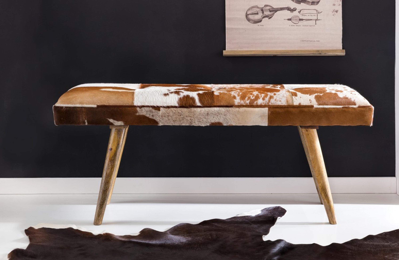 Sitzbank innen aus echtem Ziegenfell Braun Weiß 120 x 40 x 52cm ...