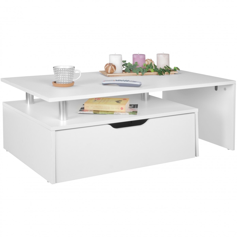 Couchtisch mit Schublade MDF-Holz weiß 100 x 36 x 60 cm modern | Design  Wohnzimmertisch flach mit Stauraum | Loungetisch Kaffeetisch