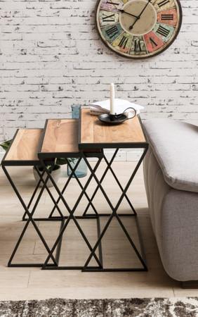 3er Set Design Beistelltische AKOLA Akazie Satztische Metallbeine | Anstelltische aus Massivholz | Couchtisch Set