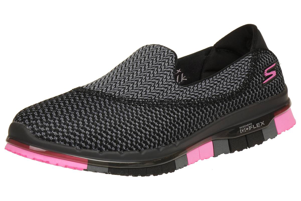 SKECHERS GO FLEX Walk Damen Sommerschuhe Slip On Slipper GRY
