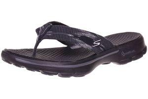 Skechers Go Walk IKAT Damen Sandalen Zehentrenner Latschen schwarz