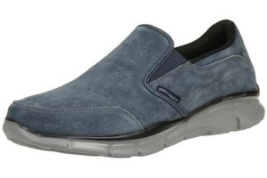 Skechers Equalizer MIND GAME Herren Slipper Mokassin Slip On Leder NVY