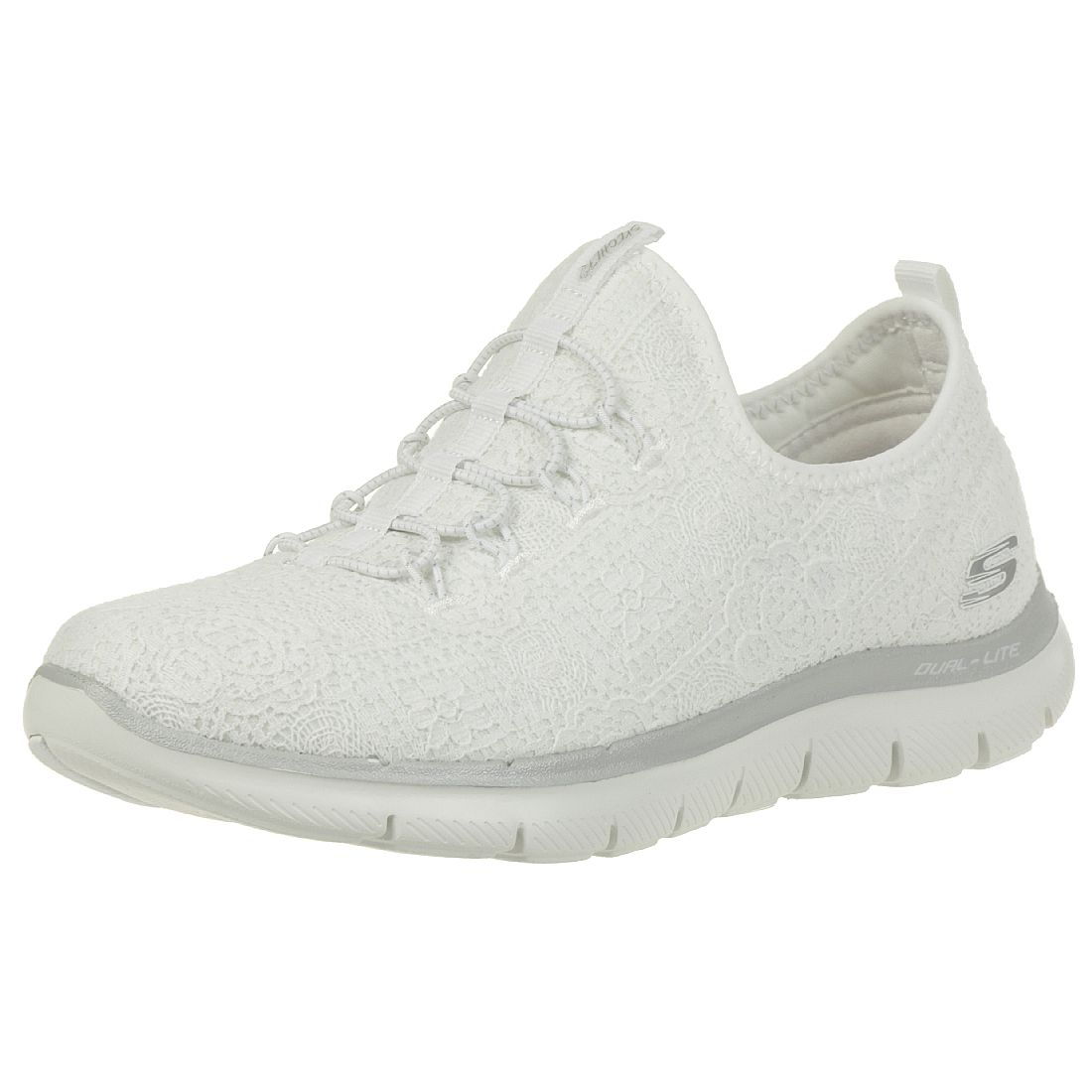 72f983b7976b8d Skechers Flex Appeal 2.0 CLEAR CUT Damen Sneaker Slip on Memory Foam weiss  silber 12907