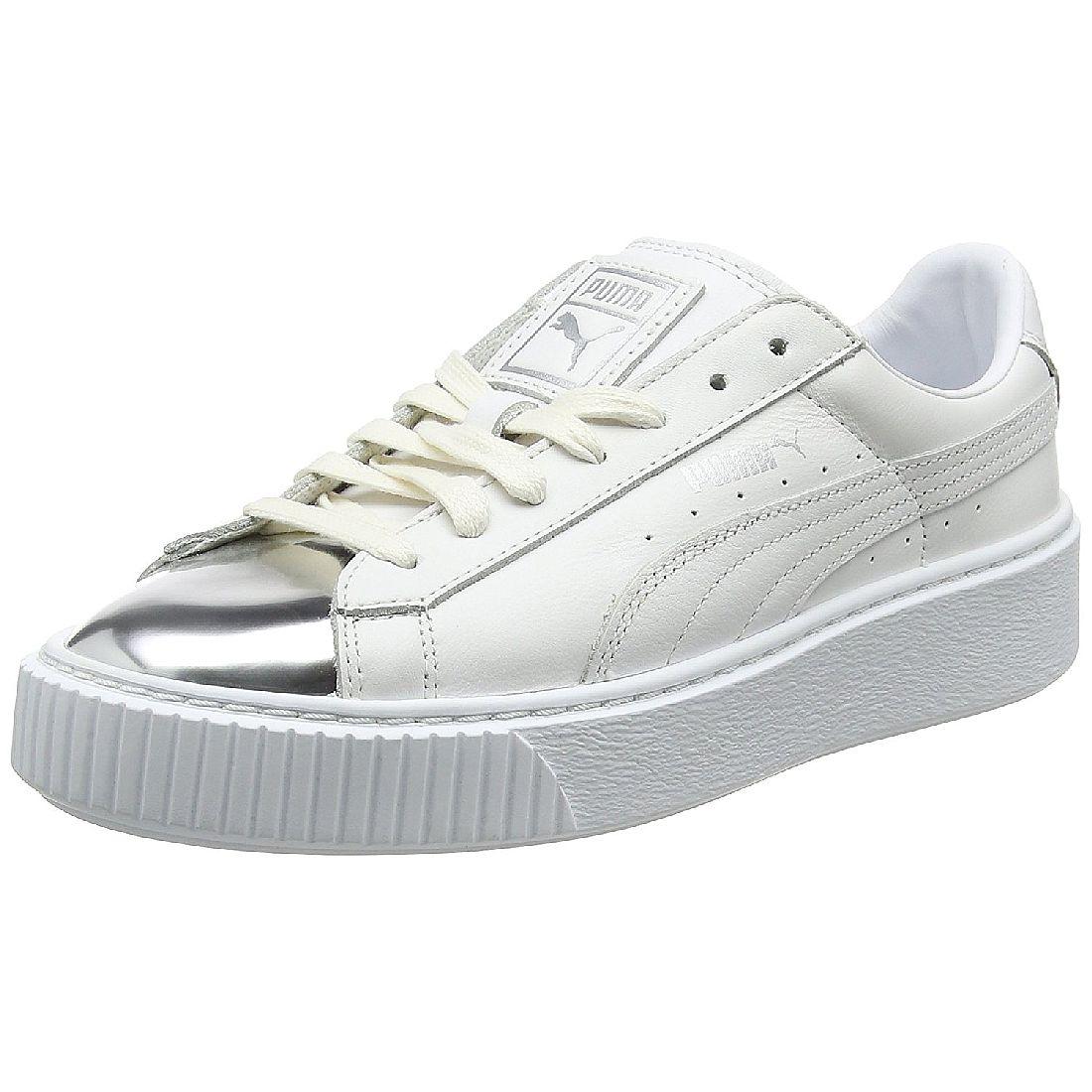 Puma – Basket – Sneaker in Silber Metallic mit Plateausohle