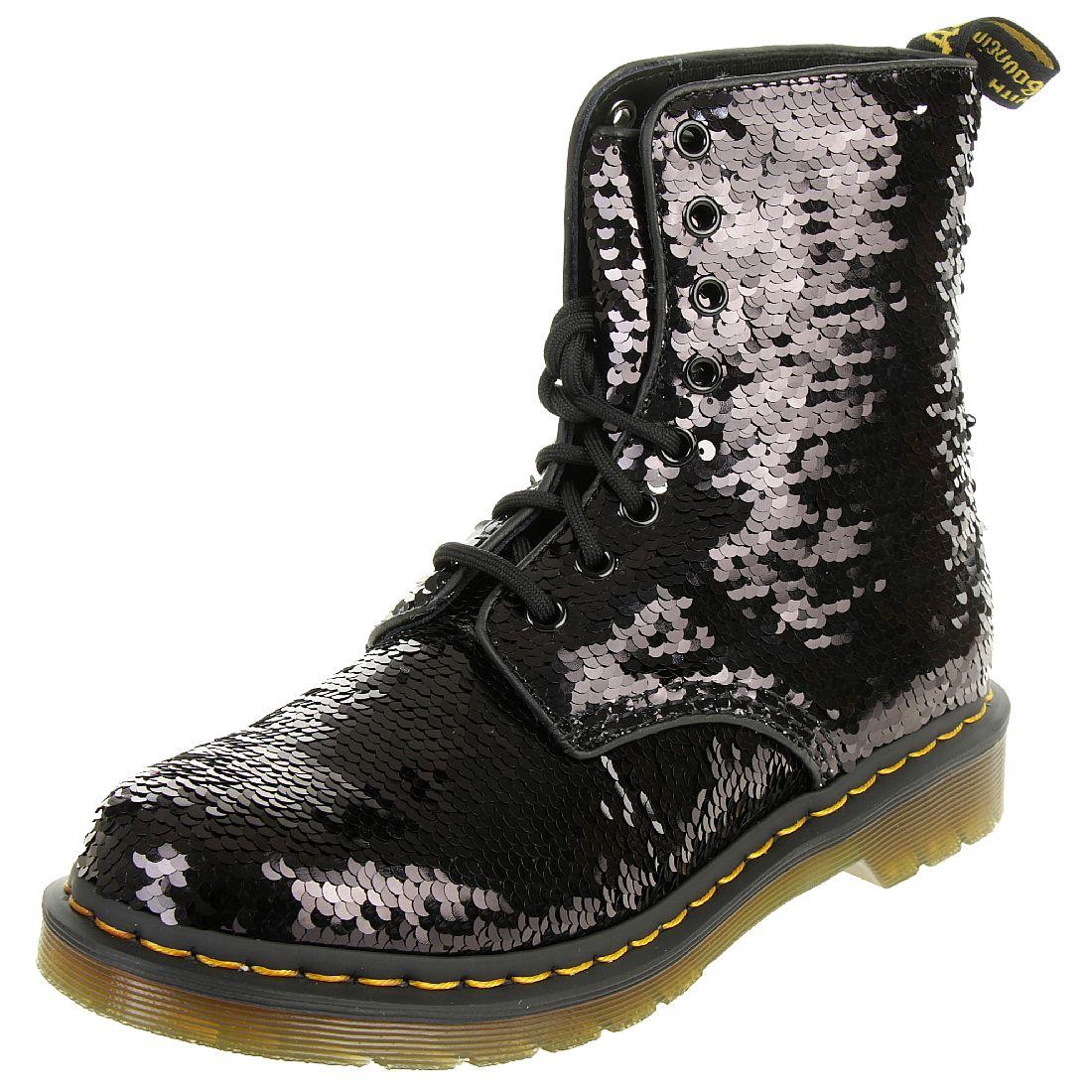 1460 Schwarz Damen Pascal Boots Sequin DrMartens Stiefel w8NOnvm0