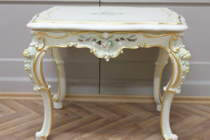 baroque table couch  65x50 in white gold silver antique style  Vp0806/01ACD – Bild 3