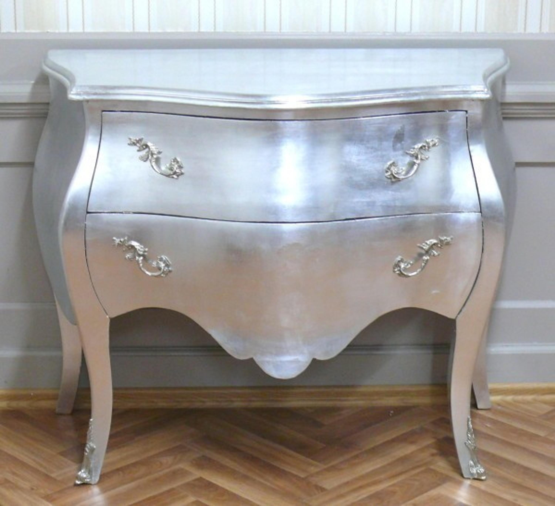 Barock Kommode Antik Stil Silber Shabbychic Alkm1022 Si 02 12