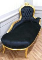 AlSo0316GoSwSamt/Velour chaise baroque longue chaise style antique – Bild 8