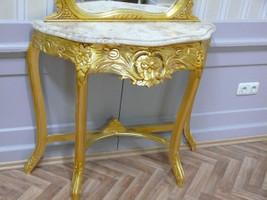 Spiegel Konsole Barock mit Marmor-Platte beige  AlKs0316GoBg – Bild 3