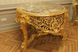 Table baroque en or ronde en marbre style antique rouge / brun Louis XV AlTa0033GoRd – Bild 2