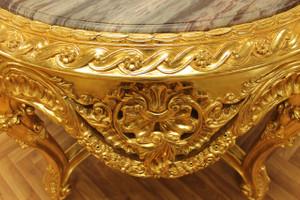 Table baroque en or autour de marbre vert / style antique brun Louis XV AlTa0028GoBr – Bild 5