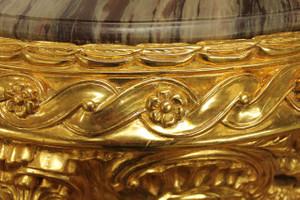 Table baroque en or autour de marbre vert / style antique brun Louis XV AlTa0028GoBr – Bild 10