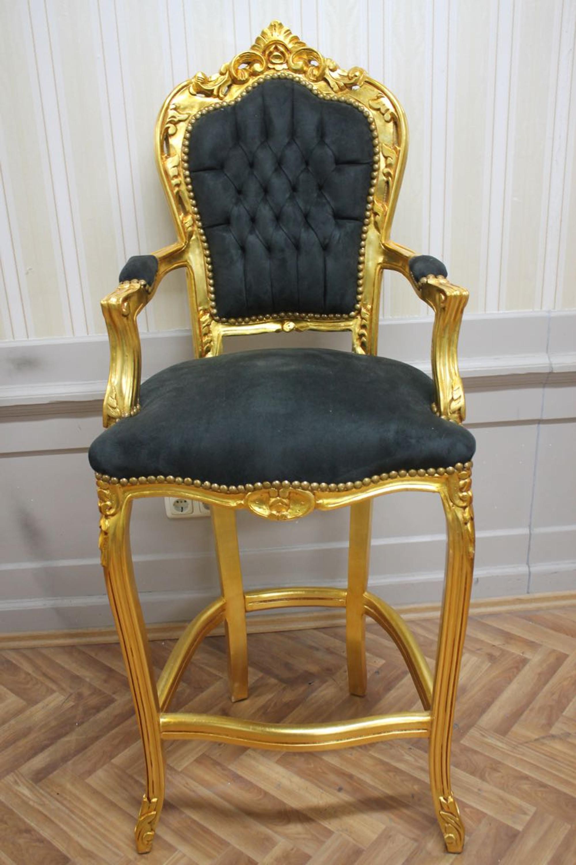 Barock Stuhl Barhocker Prunk Stuhl Antik Stil Blatt Gold