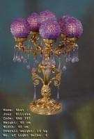 Chandelier, Lampe de table, laiton antique baroque AgEag0397 de verre – Bild 1