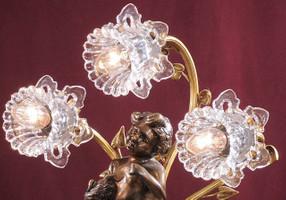 Chandelier, Lampe de table, laiton antique baroque AgEag0679 de verre – Bild 5