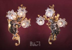 Wandleuchter, Wandlampe, Messing Barock  antik Glas AgEag0701 – Bild 1