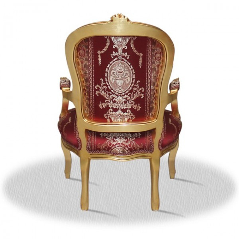 Barock Stuhl Vintage Antik Stil rot Rokoko Blatt gold rot antik Stil Massivholz.