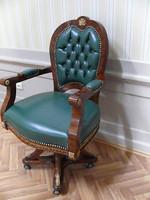 baroque armchair carved rococo chair antique style MoCh0857SkGn – Bild 1